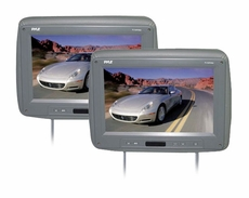 Pyle (PL102PHRG) Pair of Adjustable Headrests w/ Built-In 10.2'' TFT Monitor & IR Transmitter (Grey Color)