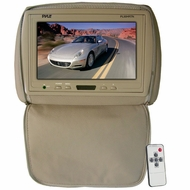 Pyle (PL90HRTN) Adjustable Headrest/ Built-In 9'' TFT-LCD Monitor with IR Transmitter (Tan Color)