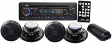 Pyle (PLCD4MRKT) Complete Marine Water Proof 4 Speaker CD/USB/Mp3/Combo w/ Stereo Cover (Black)
