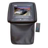 Pyle (PLD72BK) Adjustable Headrests w/ Built-In 7'' TFT/LCD Monitor w/ Built in DVD Player & IR/FM Transmitter With Cover (Black)