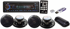 Pyle (PLMRKIT109) Hydra, Complete Marine Water Proof 4 Speaker CD/USB/Mp3/Combo 6.5''Speakers w/ Stereo Cover And USB Drive (Black)