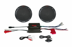 "Pyle (PLMRKT2B) Hydra, 2 Channel 400 Watt Waterproof Micro Marine Amplifier & 6.5"" Speaker System"