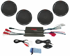 "Pyle (PLMRKT4B) Hydra, 4 Channel 800 Watt Waterproof Micro Marine Amplifier & 6.5"" Speaker System"