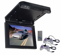 Pyle (PLRD103IF) 10.4'' TFT LCD Flip-Down Roof Mount DVD Monitor & IR/FM Transmitter