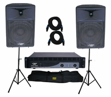 Pyle Pro (KTDA1590) 2000 Watt Complete DJ Speaker System - Two-Way Plastic Molded Loudspeaker w/Stands/MIC/Cables/Bag