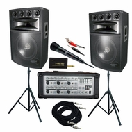 Pyle Pro (KTDM1589) 1600 Watt Complete DJ Speaker System - 15' Six-Way Powered Mixer/Stands/MIC/Cables
