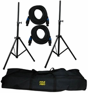 Pyle Pro (PMDK101) Heavy-Duty Aluminum Anodizing Dual Speaker Stand & 21FT Speakon Cable Kit