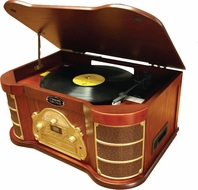 Pyle Vintage (PTCDS1U) Classical Turntable with AM/FM Radio CD/Cassette & USB Recording