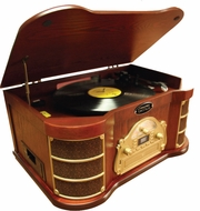 Pyle Vintage (PTCDS2UI) Classical Turntable with AM/FM Radio/ CD/ Cassette/ USB Recording & iPod Player