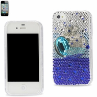 Reiko (3DCPC-IPHONE4APPBL) Full Diamond 3D, Snap-On Hard Protective Case for iPhone 4G/4S, Blue Apple Design