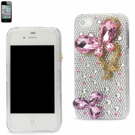 Reiko (3DCPC-IPHONE4BUTPK) Full Diamond 3D, Snap-On Hard Protective Case for iPhone 4G/4S, Pink Butterfly Design
