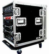 "(RR14UAD24W) 14U Amplifier Deluxe Case-24"" Body Depth with Caster Board- 1/2"" Plywood"