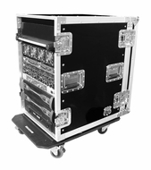 "(RR16UAD24W) 16U Amplifier Deluxe Case-24"" Body Depth with Caster Board- 1/2"" Plywood"