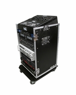 (RRM16UW) 10U Slant Mixer Rack / 16 U Vertical Rack System with Caster Board