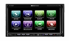 "Soundstream (VIR-7355NRBT) Bluetooth & Navigation Input(Requires NAVIBOX-1) 7"" Wide Touch Screen EXACT Double-din In-Dash Motorized TFT Monitor/DVD/AM/FM"