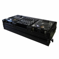 "Tov (T-CDM10/12WBL) Black on Black Series Holds 2x Large format of CD and 10""/ 12"" Mixers w/ Weels"