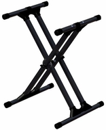 Ultimate Support (IQ-3000) IQ Series X-style Keyboard Stand with Patented Memory Lock, Nine Height Settings, Stabilizing End Caps, and Extra-strength Tubing - 300 lbs. Capacity