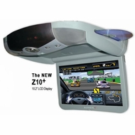 """Rosen (ZR10) 10.2"""" Overhead Flip Down Monitor with Headphones, Game Controller, and Remote, Grey"""