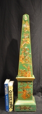 Chinoiserie style green painted obelisk (3ft)