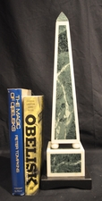 Green and white marble obelisk