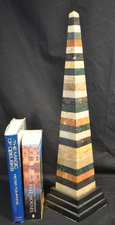 Tall Multi-colored striped specimen marble obelisk