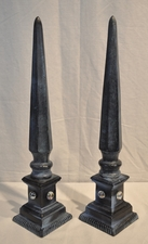 Blue metal obelisks