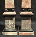 Pink Marble Obelisks with Black Accents