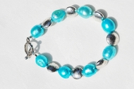 """Cerulean Light""  Cultured Pearl and Disc Beaded Bracelet"