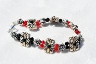 """Onyx Rose""  Crystal Bead and Charm Bracelet"
