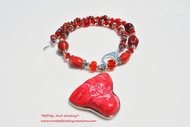 """RED""dy and Waiting Glass Beaded and Crystal Necklace"