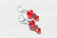 """Thorns"" Ladies Handmade Red Crystal Beaded Earrings"
