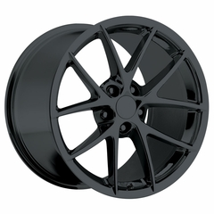 2009 C6Z06 Spyder Style Corvette Wheels (Set): Black 18x9.5/19x12 2006-2013 C6Z06/C6GS
