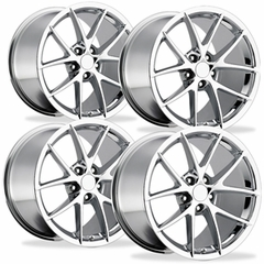 2009 C6Z06 Spyder Style Corvette Wheels (Set): Chrome 18x8.5/19x10 2005-2013 C6