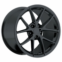 2009 C6Z06 Spyder Style Corvette Wheels (Set): Gloss Black 18x8.5/19x10 2005-2013 C6