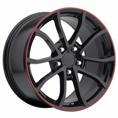 2013 Corvette 60th Anniversary - 427 Centennial Special Edition - Cup Style Wheels (Set) - Gloss Black w/Stripe : 17x8.5 / 18x9.5 1997-2004 C5 & Z06