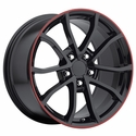 2013 Corvette 60th Anniversary - 427 Centennial Special Edition - Cup Style Wheels (Set) - Gloss Black w/Stripe : 18x8.5 / 19x10 2006-2013 C6