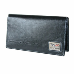 Black C6 Leather Checkbook Cover