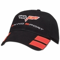 Black Corvette Grand Sport Hat Twill with C6 Flags and Grand Sport Emblem