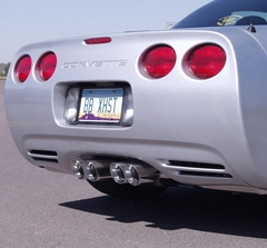 "C5/C5 Z06 B&B Route 66 Axle-Back Corvette Exhaust - Quad 3.5"" Round Tips"