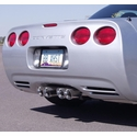 "C5/C5 Z06 B&B Route 66 Axle-Back Corvette Exhaust - Quad 3.5"" Round Tips - B&B FCOR-0210"