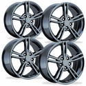 C5/C5Z06 Corvette Wheels - 2008 Style Split Spoke Reproduction (Set) : Black Chrome