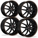 C5 C6 Corvette Wheel Package - SR1 APEX Gloss Black With Orange Pinstripe Set (97-12 C5 / C5 Z06 / C6)