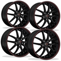 C5 C6 Corvette Wheel Package - SR1 APEX Gloss Black With Red Pinstripe (97-12 C5 / C5 Z06 / C6)