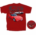 C5 Corvette Red Coupe & Silver Convertible T- Shirt Red - Mens