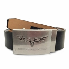 C6 Corvette Brushed Nickel Buckle w/ Black Leather Belt