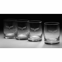 C6 Corvette Cross Flag Etched Old Fashioned Glasses (Set of 4)