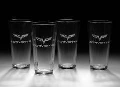 C6 Corvette Cross Flag Etched Tall Beverage Glasses (Set of 4)