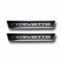 C6 Corvette Door Sill Plates - Stainless Steel Corvette Script with Carbon Fiber Overlay
