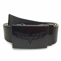 C6 Corvette Logo Black Buckle w/ Carbon Fiber Style Belt