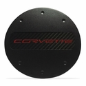 C7 Corvette - Billet Fuel Door - Black Powder Coat : Stingray, Z51- Red Lettering